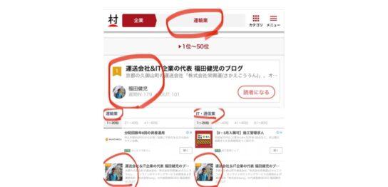 人気ブログランキングとにほんブログ村で運送会社&IT企業の代表 福田健児のブログがランキング1位