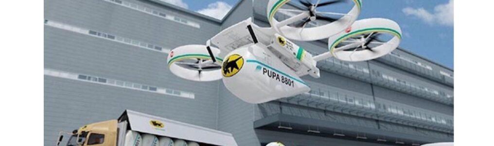 空と地上輸送手段の両方で輸送できる大型貨物ユニットの空飛ぶクルマ「PUPA(ピューパ)R8801」