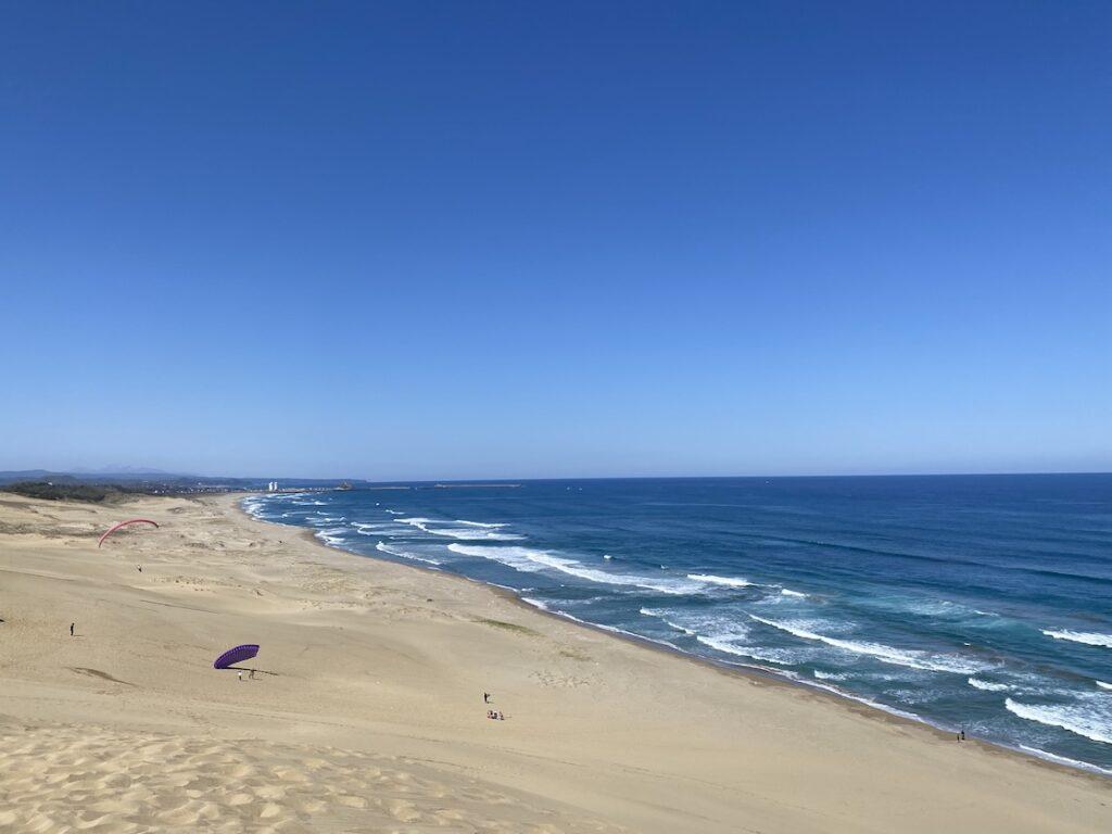 鳥取砂丘でパラグライダー体験する人達